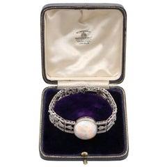 Antique 24.66 Carat Opal and 9.81 Carat Diamond Platinum Bracelet