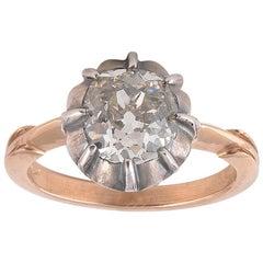 Antique 2.45 Carat Old Cut Diamond Single Stone Ring