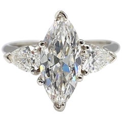 Antique 2.56 Carat Marquise Diamond Engagement Ring GIA
