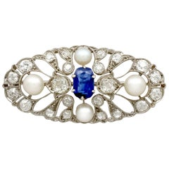 Antique 2.58 Carat Sapphire, 2.40 Carat Diamond and Pearl Brooch