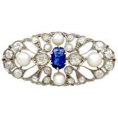 Antique 2.58 Carat Sapphire 2.40 Carat Diamond and Pearl Brooch