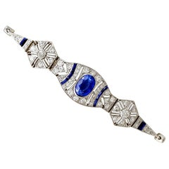 1920s Art Deco 2.59 Carat Sapphire and 1.72 Carat Diamond White Gold Bracelet