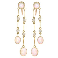 Antique 2.71 Carat Opal and Diamond Yellow Gold Drop Earrings