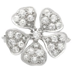 Antique 2.75 Carat Diamond and White Gold Floral Brooch