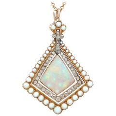 Antique 2.88 Karat Opal and Diamond, Pearl and Yellow Gold Pendant, circa 1900