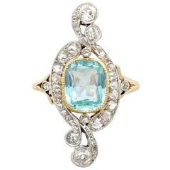 Antique 2.91 Carat Aquamarine and 1.68 Carat Diamond Yellow Gold Dress Ring