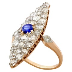 Antique 2.92 Carat Diamond and Sapphire Marquise Ring