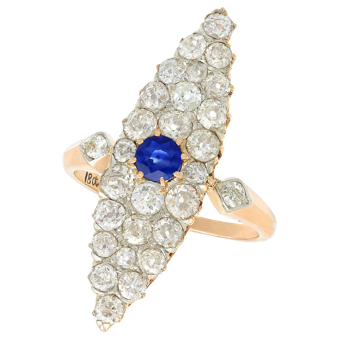 Antique 2.92 Carat Diamond and Sapphire Yellow Gold Marquise Ring