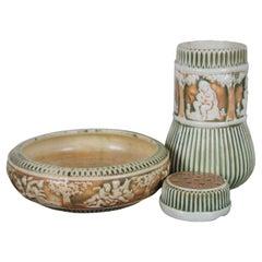 Antique 3 Pc Roseville Pottery Donatello Jardiniere Vase Dish Flower Frog Bowl