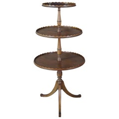 Antique 3 Tier Regency Mahogany Dumbwaiter Accent Butler Display Table