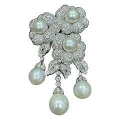 Antique 30ct Diamond & 6 South Sea Pearl Pin/ Broach 18 Karat White Gold, Estate