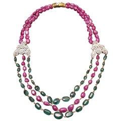 Antique 310 Carat Ruby, Emerald and Diamond Necklace, circa 1910