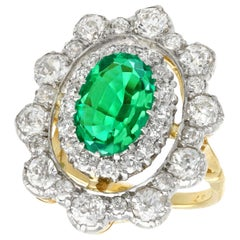 Antique 3.12 Carat Emerald and 3.15 Carat Diamond Yellow Gold Cocktail Ring