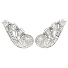 Antique 3.25 Carat Diamond and White Gold Earrings, Circa 1935
