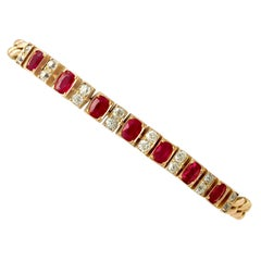 Antique 3.30 Carat Ruby and 1 Carat Diamond Yellow Gold Line Bracelet circa 1930