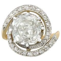 Antique 3.32 Carat Diamond and Yellow Gold Platinum Set Twist Ring