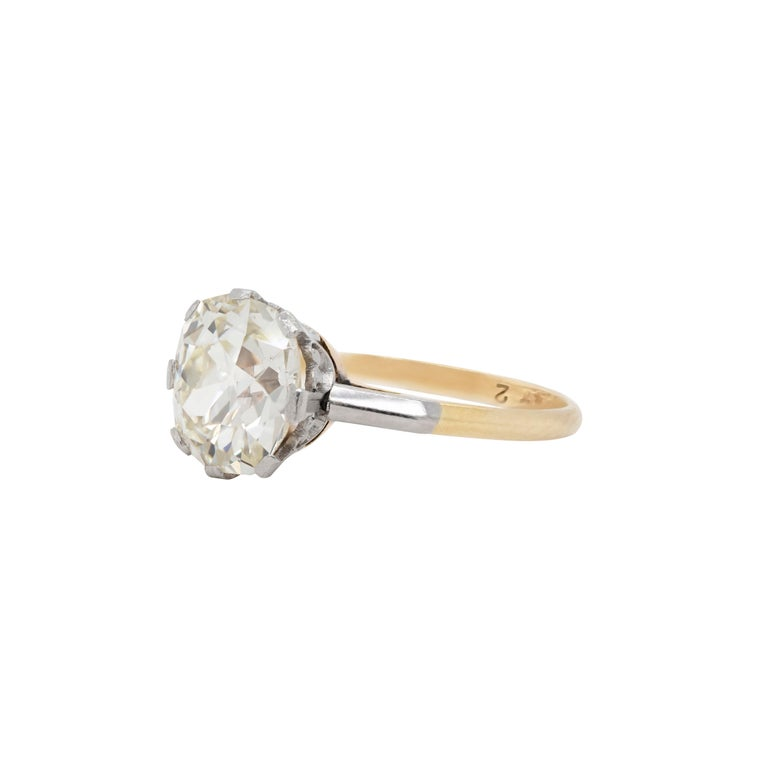 Edwardian Antique 3.42 Carat Old Cushion Cut Diamond Engagement Ring, circa 1910 For Sale