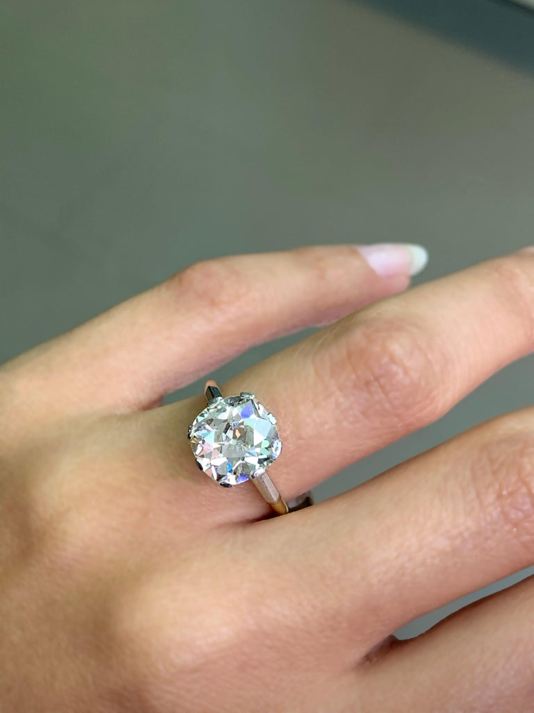 Women's Antique 3.42 Carat Old Cushion Cut Diamond Engagement Ring, circa 1910 For Sale