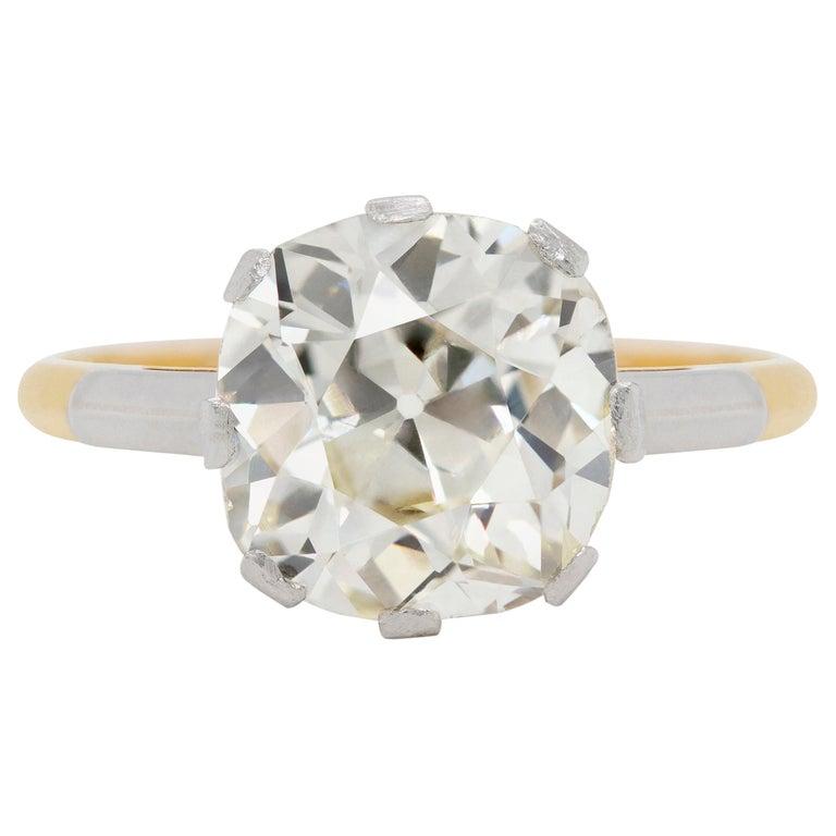 Antique 3.42 Carat Old Cushion Cut Diamond Engagement Ring, circa 1910 For Sale