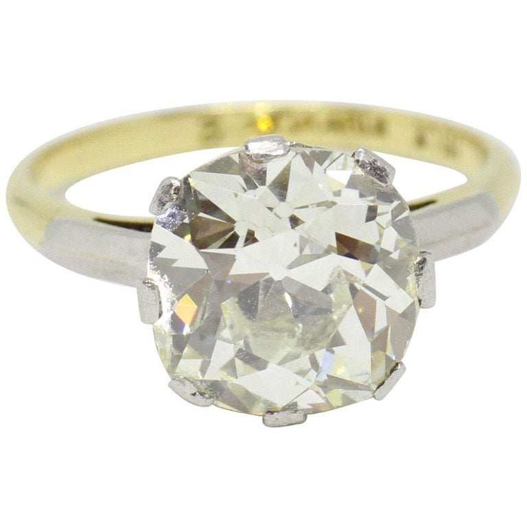 Antique Engagement Rings For Sale: Antique 3.42 Carat Old Cushion Cut Diamond Engagement Ring