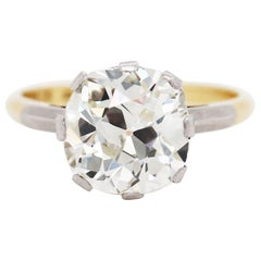 Antique 3.42 Carat Old Cushion Cut Diamond Engagement Ring, circa 1910