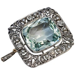 Antique 34.25 Carat Aquamarine Diamond Pearl Brooch Pendant