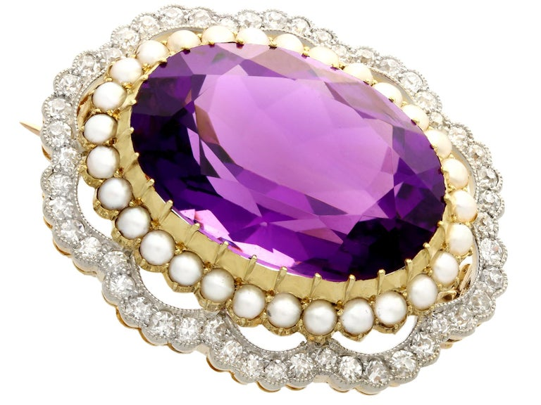 Antique 34.49 Carat Amethyst and 2.95 Carat Diamond Pearl and Yellow Gold Brooch In Excellent Condition For Sale In Jesmond, Newcastle Upon Tyne