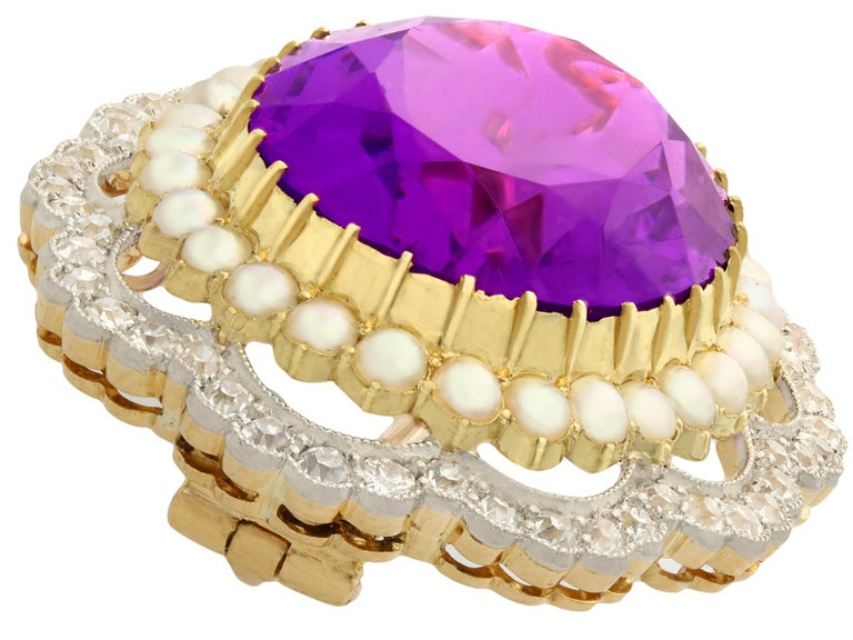 Women's or Men's Antique 34.49 Carat Amethyst and 2.95 Carat Diamond Pearl and Yellow Gold Brooch For Sale