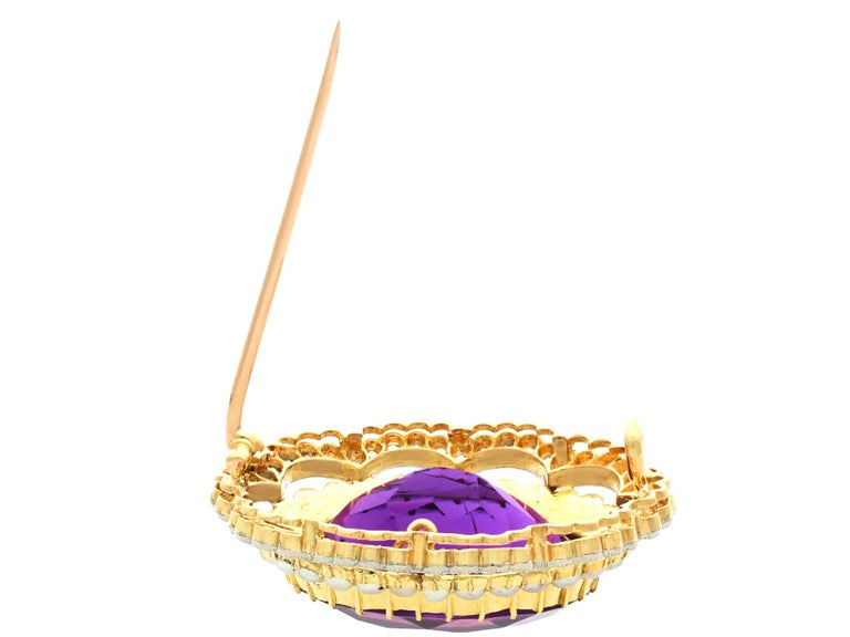 Antique 34.49 Carat Amethyst and 2.95 Carat Diamond Pearl and Yellow Gold Brooch For Sale 2