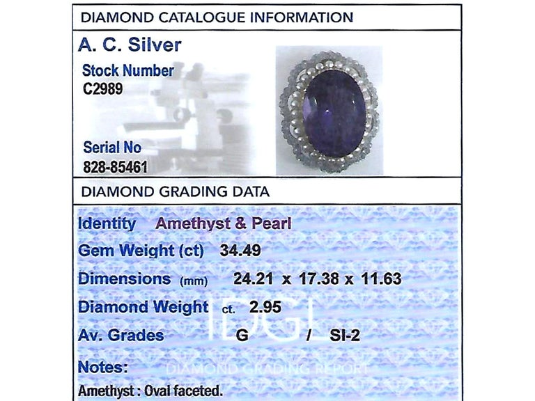 Antique 34.49 Carat Amethyst and 2.95 Carat Diamond Pearl and Yellow Gold Brooch For Sale 4