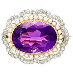 Antique 34.49 Carat Amethyst and 2.95 Carat Diamond Pearl and Yellow Gold Brooch