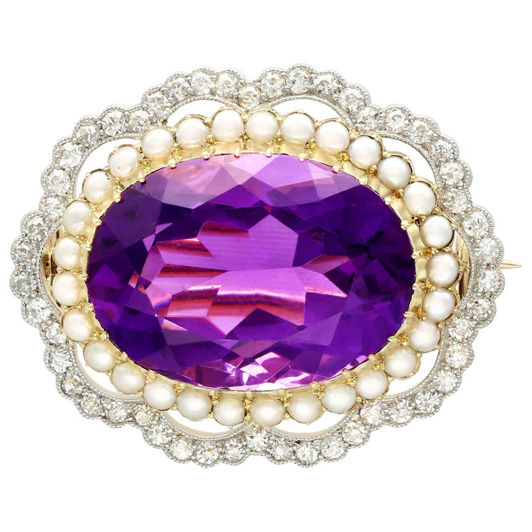 Antique 34.49 Carat Amethyst and 2.95 Carat Diamond Pearl and Yellow Gold Brooch For Sale