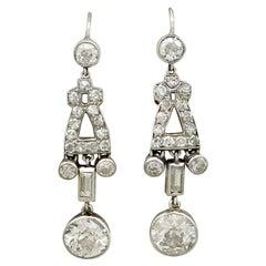 Antique 3.49 Carat Diamond and Platinum Drop Earrings, circa 1925