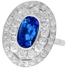 Antique 3.50 Carat Ceylon Sapphire and 2.48 Carat Diamond Platinum Cocktail Ring