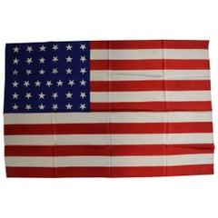 Antique 37-Star American Flag Printed on Silk, circa 1867
