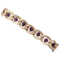 Antique 3.75 Carat Amethyst and 15 Karat Gold Bracelet with Heart Padlock Clasp