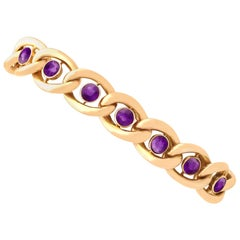 Antique 3.75 Carat Amethyst and Gold Bracelet with Heart Padlock Clasp