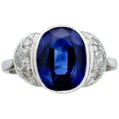 Antique 3.75 Carat Sapphire and Diamond White Gold Cocktail Ring, circa 1930