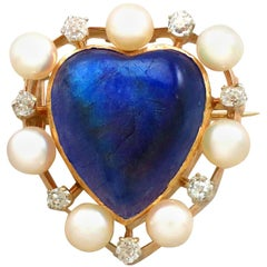 Antique 3.98 Carat Labradorite and Seed Pearl Diamond and Yellow Gold Brooch