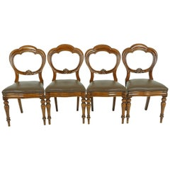 Antique 4 Balloon Back Dining Chairs, Antique Furniture, Scotland 1880, 1755