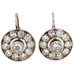Antique 4 Carat Diamond Cluster Earrings