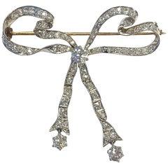 Antique 4 Carat of Diamonds Platinum Gold Articulating Bow Pin