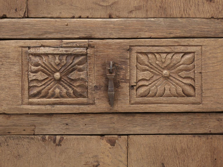 Antique 4-Door Cupboard or Armoire circa 1600's Still Beautiful and Unrestored For Sale 3