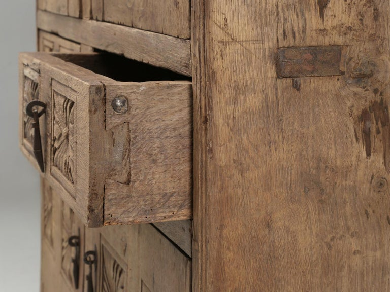 Antique 4-Door Cupboard or Armoire circa 1600's Still Beautiful and Unrestored For Sale 4