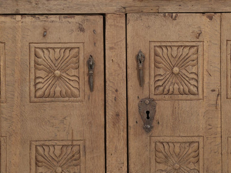 Antique 4-Door Cupboard or Armoire circa 1600's Still Beautiful and Unrestored For Sale 5
