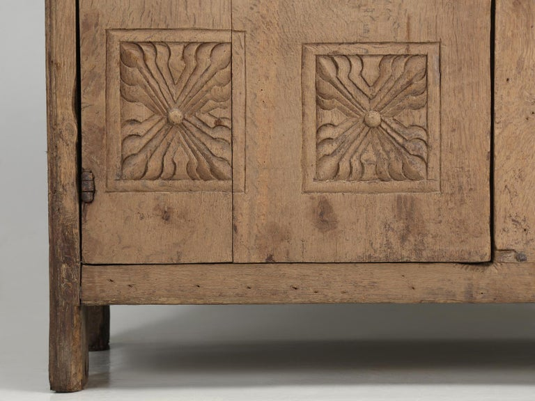 Antique 4-Door Cupboard or Armoire circa 1600's Still Beautiful and Unrestored For Sale 6