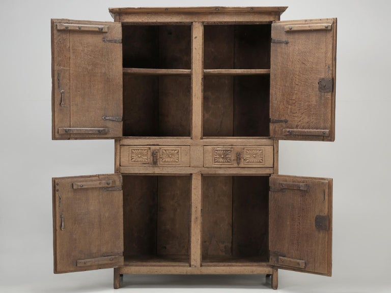 Antique 4-Door Cupboard or Armoire circa 1600's Still Beautiful and Unrestored For Sale 8