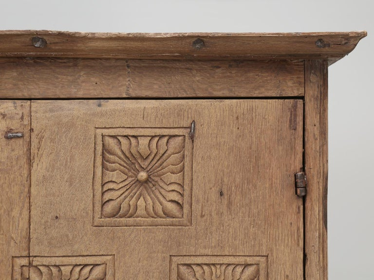 18th Century and Earlier Antique 4-Door Cupboard or Armoire circa 1600's Still Beautiful and Unrestored For Sale