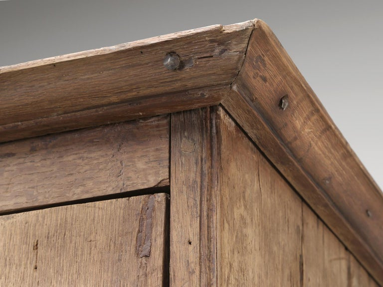 Wood Antique 4-Door Cupboard or Armoire circa 1600's Still Beautiful and Unrestored For Sale