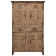 Antique 4-Door Cupboard or Armoire circa 1600's Still Beautiful and Unrestored